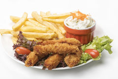 Chicken Strips With Fries Stock Image