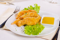 Chicken Strips with Mustard Dipping Sauce Royalty Free Stock Photos