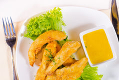 Chicken Strips with Mustard Dipping Sauce Stock Photo