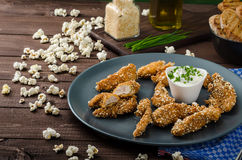Chicken strips in popcorn breadcrumbs Royalty Free Stock Photography