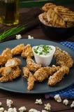 Chicken strips in popcorn breadcrumbs Royalty Free Stock Photos