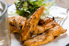 Chicken strips with salad Royalty Free Stock Image
