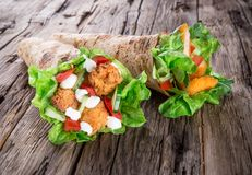 Chicken strips in a Tortilla Wraps Royalty Free Stock Images