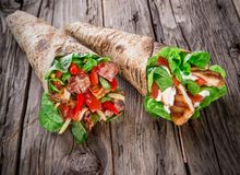 Chicken strips in Tortilla wraps Royalty Free Stock Photography