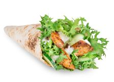 Chicken strips in Tortilla wraps Stock Photos