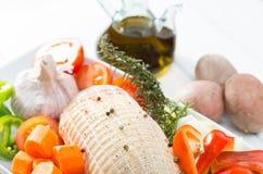 Chicken stuffed baked Stock Image