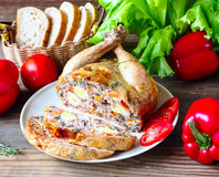 The chicken stuffed with vegetables and mushrooms Royalty Free Stock Images