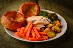 Chicken Sunday dinner with Yorkshire puddings Stock Images