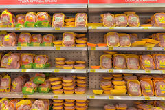 Chicken on the supermarket shelves Stock Photography