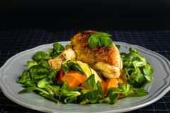 Chicken Supreme on vegetable pappardelle. With corn salad Royalty Free Stock Photos