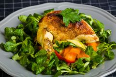 Chicken Supreme on vegetable pappardelle. With corn salad Royalty Free Stock Photography