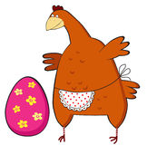 Chicken surprised  Easter Egg. Card Chicken surprised  Easter Egg Royalty Free Stock Photo