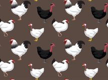 Chicken Sussex Turken Cartoon Seamless Wallpaper Stock Photography