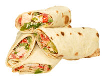 Chicken And Sweet Pepper Filled Wraps Stock Photo