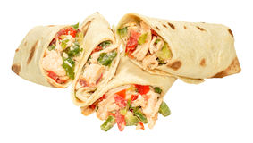 Chicken And Sweet Pepper Filled Wraps Stock Image
