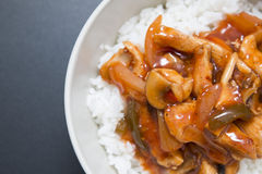 Chicken sweet and sour with rice Royalty Free Stock Photography