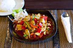 Chicken in sweet and sour souce. Thai dish with chicken in sweet and sour souce Stock Image