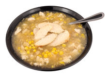 Chicken And Sweetcorn Soup In A Black Bowl Stock Photography