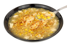 Chicken And Sweetcorn Soup In A Black Bowl Royalty Free Stock Images