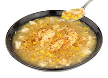Chicken And Sweetcorn Soup In A Black Bowl Royalty Free Stock Image