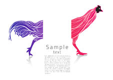 Chicken symbol shows a French flag with an artistic line inside Royalty Free Stock Images