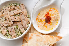 Chicken taboulii couscous with hummus Royalty Free Stock Photography