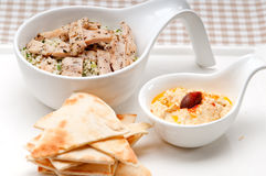 Chicken taboulii couscous with hummus Stock Photo