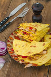 Chicken taco. On the wooden table Stock Photos