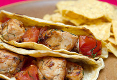 Chicken tacos and chips Royalty Free Stock Images