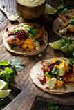 Chicken Tacos. With Mango Salsa royalty free stock photo