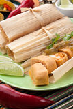 Chicken Tamales With Green Salsa Stock Photos
