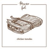 Chicken tamales sketch vector icon for Mexican cuisine food menu design Stock Photography