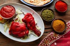 Chicken Tandoori indian recipe with spices Stock Photos