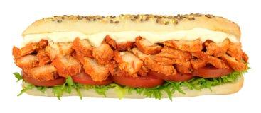 Chicken Tandoori Sandwich Sub Roll. Chicken tandoori and salad sandwich sub roll isolated on a white background Stock Images