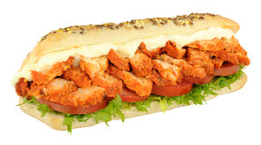 Chicken Tandoori Sandwich Sub Roll. Chicken tandoori and salad sandwich sub roll isolated on a white background Royalty Free Stock Images