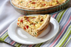 Chicken tart with paprika and goat cheese Royalty Free Stock Image