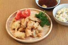 Chicken tempura. And salad, Japanese cuisine Royalty Free Stock Image