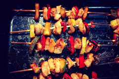 Chicken teriyaki kebabs with vegetables on black baking, toned Royalty Free Stock Images