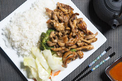 Chicken Teriyaki with rice on a white plate Stock Image