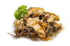 Chicken in teriyaki sauce with buckwheat noodles, mushrooms and carrots. Asian Lunch stock images