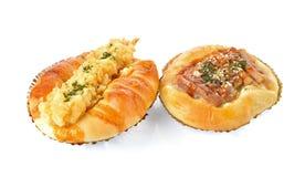 Chicken teriyaki sauce and Warabi Tempura shrimp bun on white Stock Photos
