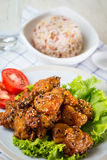 Chicken Teriyaki serve with whole grain rice Royalty Free Stock Photography