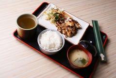 Chicken Teriyaki Set Menu. Grilled Chicken with Teriyaki sauce, and rice, miso soup, ocha tea Royalty Free Stock Image