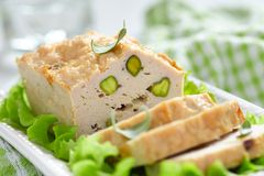 Chicken terrine with pistachios Royalty Free Stock Photos