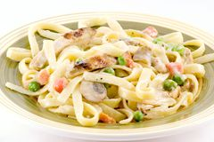 Chicken tetrazzini. Chicken in a savory cream sauce with mushrooms,peas and carrots Royalty Free Stock Photo