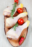 Chicken thigh -raw - chicken with vegetables Royalty Free Stock Images