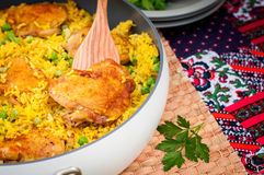 Chicken Thigh and Rice Biryani with Green Peas Royalty Free Stock Photo