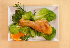 Chicken thigh with salad Stock Image
