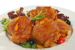 Chicken thighs. Just prepared fried chicken thighs in friture Royalty Free Stock Photos
