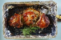 Chicken thighs barbecue Royalty Free Stock Photography